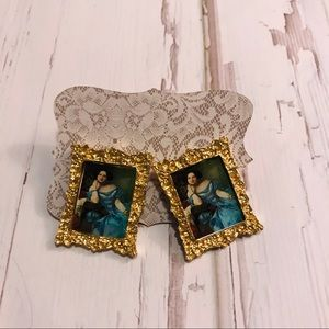 Jewelry - Sold!! Framed oil painting earrings